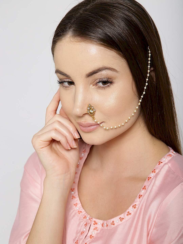 Priyaasi Designer Kundan Studded Gold Plated Non Pierced
