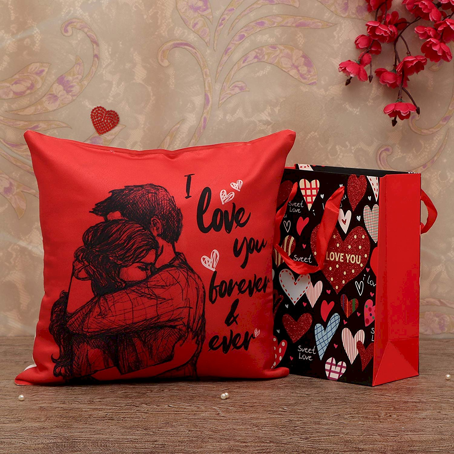 Tied Ribbons Valentine Day Gift For Girls Boys Boyfriend Girlfriend Husband Wife Romantic Gift Combo Valentine Special Cushion Cover With Filler 12 X 12 Inch And Carry Bag Fashion Marketplace