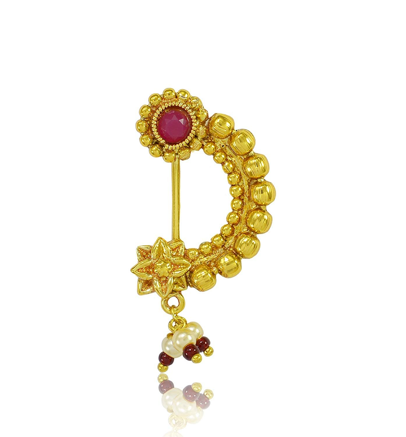 Desire Collection Maharashtrian Nath Gold Plated Nose Ring Without