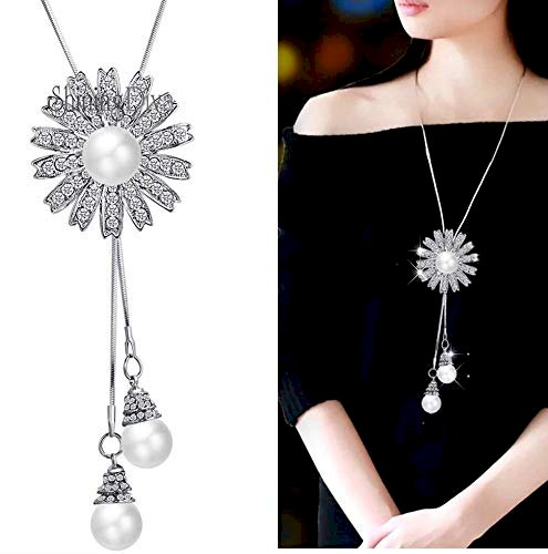 Fashion Women Flower Pearl Pendant Coat Sweater Chain Long Necklace Jewelry Gift